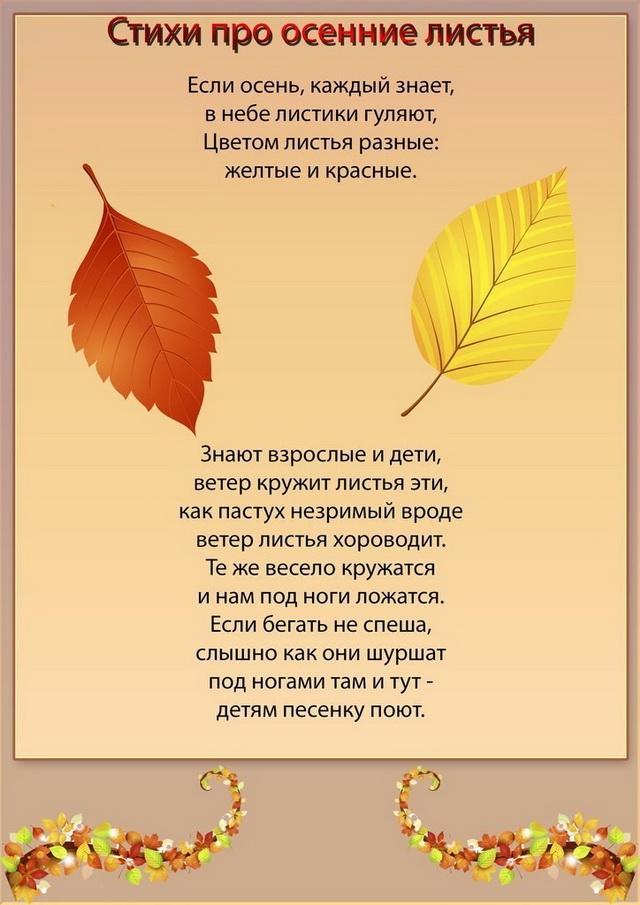 стихи про осенние листья короткие и красивые поездке остались только