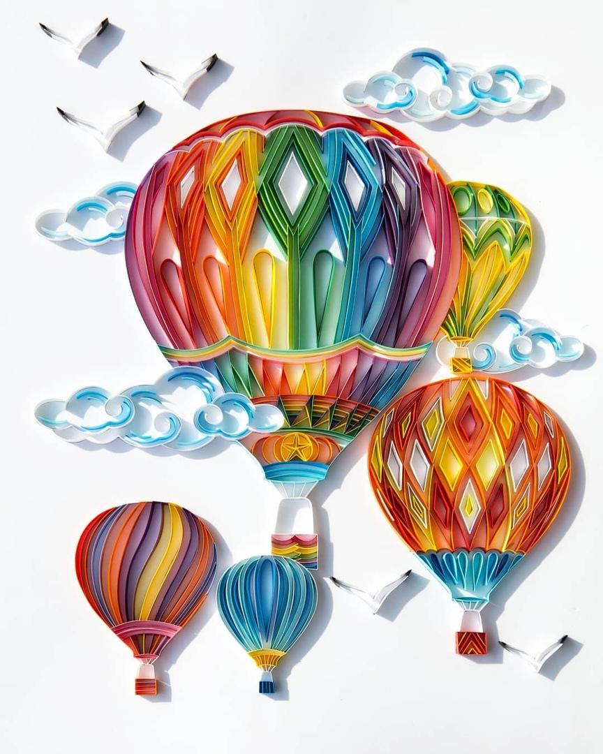 Воздушный шар открытки, цветок бумаги открытку