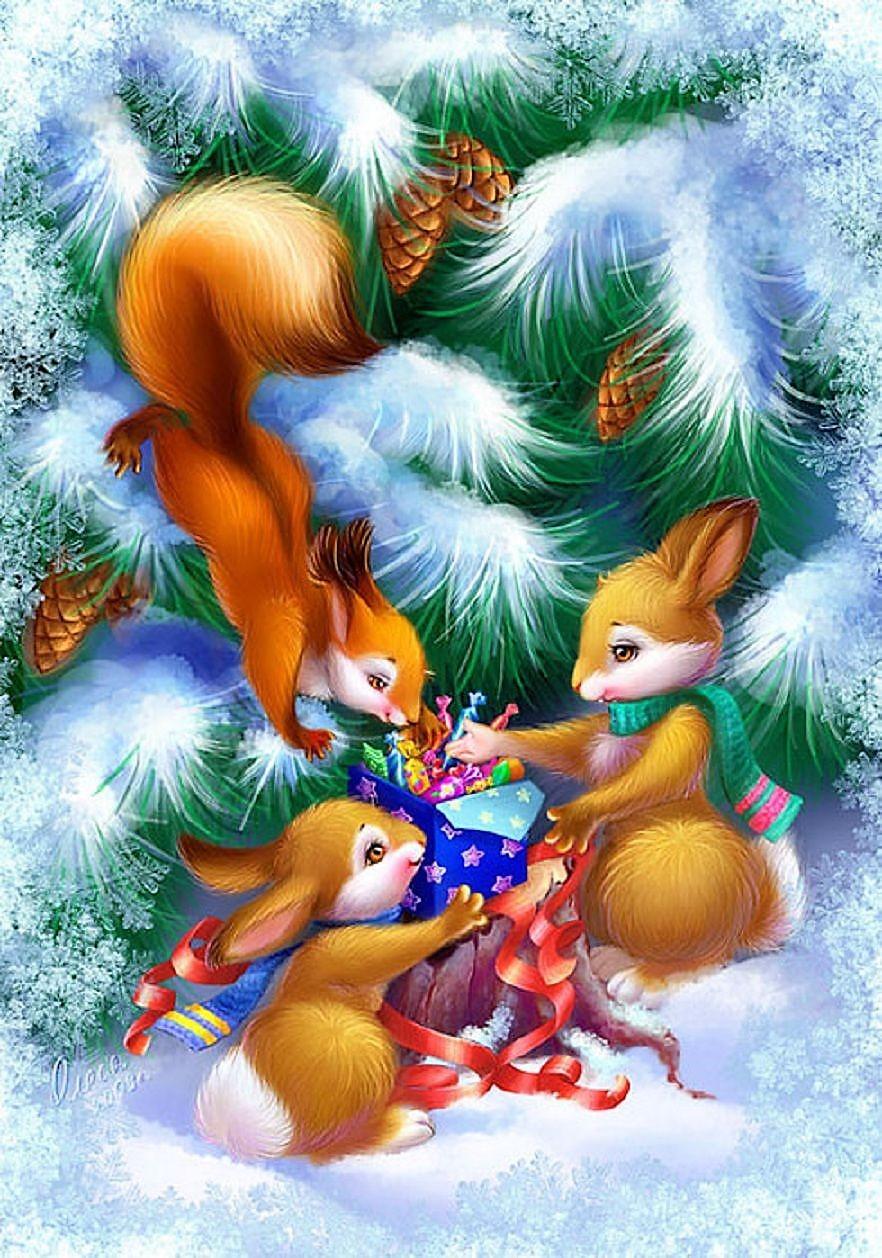 магический празднует красивые мультяшные картинки с новым годом кли-кай